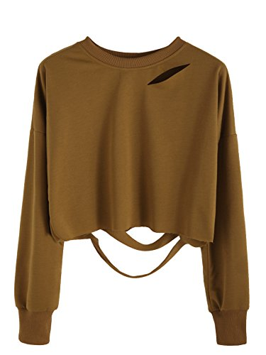 SweatyRocks Women's Long Sleeve Crop T-shirt Distressed Ripped Cut Out Tee Tops Khaki XL