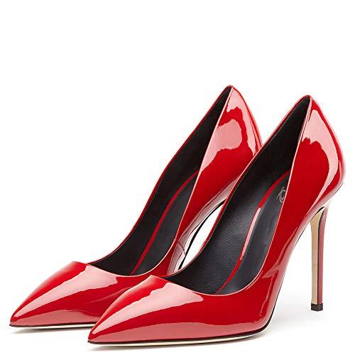 Pointu shoes Red Chaussures De Femmes Bout Talon Escarpins Verni Fête Cuir Travail Robe HnqrBxHw
