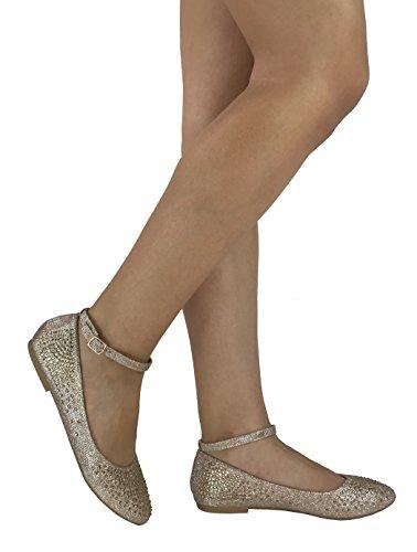 Emma Abigail Ankle Strap Ballet Flat Slip On Shoes, Champagne, 7.5 by Emma Fashion