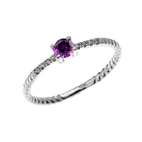 Rope Design Solitaire Ring (10k White Gold Dainty Diamond and Solitaire Amethyst Rope Design Stackable/Proposal Ring(Size 8.25))