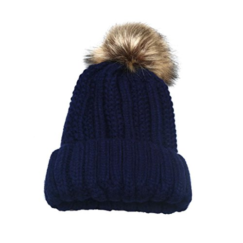 WensLTD Women Men Crochet Wool Knit Beanie Beret Ski Ball Cap Baggy Winter Warm Hat (Navy)