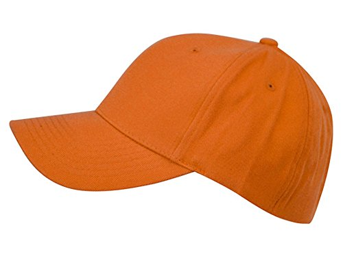 Unisex 6 Panel Plain Baseball Cap - With Velcro Closure on Back of Hat - Deep Fit - Orange,Set of 2 Adjustable Velcro Back Closure