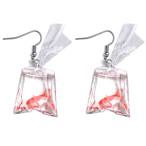 KISSFRIDAY Red Resin Goldfish Shape Fish Water Bag Hook Drop Earrings For Women And Girls