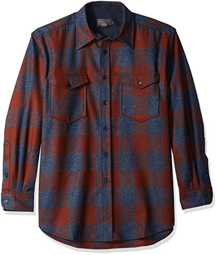Pendleton Men's Long Sleeve Button Front Classic-fit Guide Shirt, Rust/Navy Buffalo Check, (Classic Button Front Shirt)