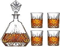 SuDeLLong Juego de Vasos y Jarra de Whisky Conjunto De Vidrio De Whisky 650 Ml Y Conjuntos De Gafas De Whisky De 4x320ml para Hombres (Color : Clear