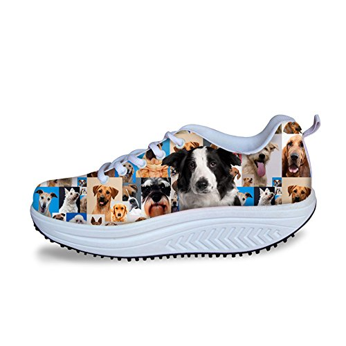 Ladies Women 1 Fitness Swing Sneakers Up Animal Dog Soft Lace Walking Wedge Casual Shoes Shoes Pattern RwWCRZqrOx