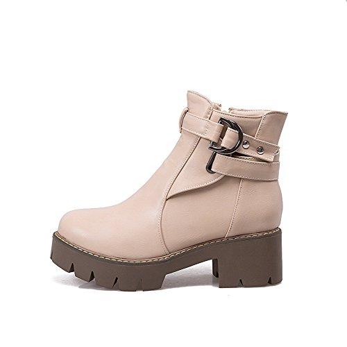 VogueZone009 Damen PU Rund Zehe Mittler Absatz Reißverschluss Rein Stiefel, Aprikosen Farbe, 34