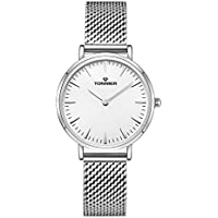 Tonnier Silver Slim Stainless Steel Mesh Strap Women Watch White Face Watch
