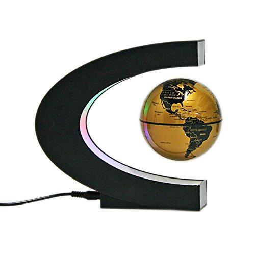 Senders Floating Globe with LED Lights C Shape Magnetic Levitation Floating Globe World Map for Desk Decoration (Gold)