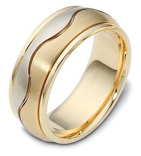 Titanium Dora Ring (8.5mm Titanium & 14 Karat Yellow Gold Wave Wedding Band - 11.75)