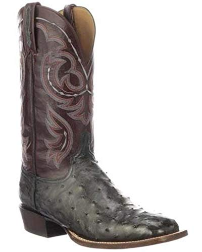 (Lucchese Men's Harris Full Quill Ostrich Western Boot Wide Square Toe Dark Grey 9.5 D)
