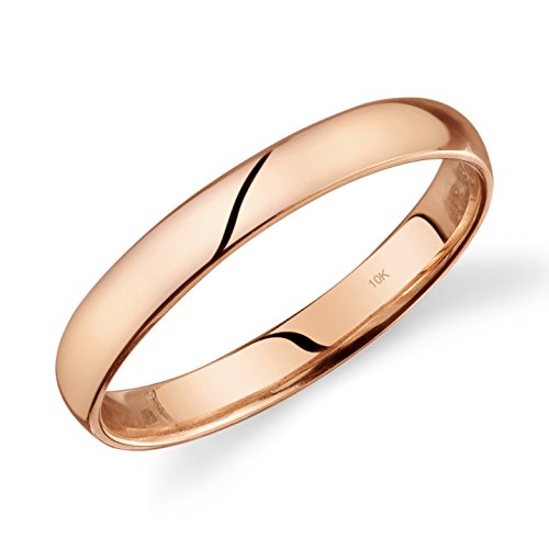 Tesori & Co 10k Rose Gold Light Comfort Fit 3mm Wedding Band Size 10 (Gold Jewelry Design)