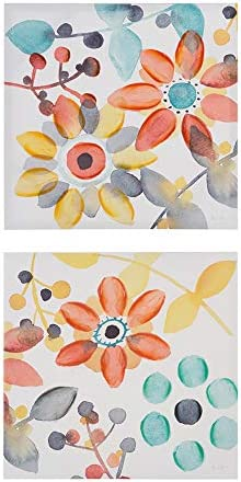 Intelligent Design Sweet Florals 2 Piece Set Wall Art - Hand Embellished Canvas Modern Contemporary Design Global Inspired Flower Abstract Painting Living Room Accent Decor Orange Multi 20 x 20