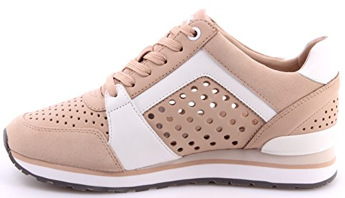 Scarpe Donna Sneaker MICHAEL KORS BillieTrainer Lasered Leather Oyster Opt White