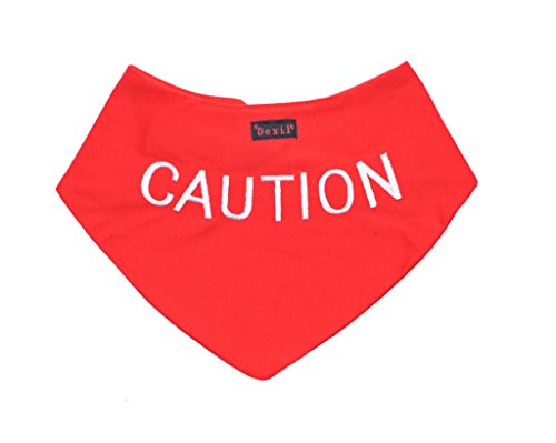 Dog Fashion Bandana - Dexil Caution Red Dog Bandana Quality Personalised Embroidered Message Neck Scarf Fashion Accessory Prevents Accidents by Warning Others of Your Dog in Advance
