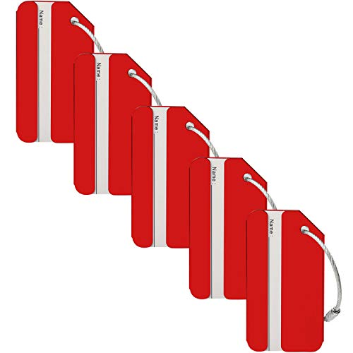 (Aluminum Luggage Tags, Bag Tag Travel ID Labels Tag, Bright Suitcase Tags & Luggage Baggage Identifier by LouisJoeYu(Red-5))