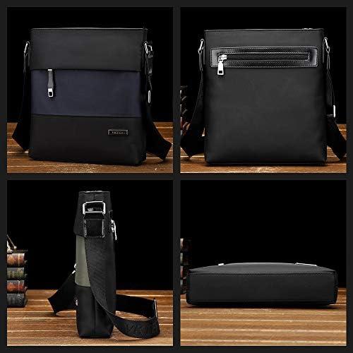 Whatnaショルダーバッグ メンズ メッセンジャーバッグ 縦型 B5 9.7インチipad収納可 オックスフォード布 防水 耐磨耗 ビジネスバッグ 小さい 斜めがけ バッグ 男性用 紳士用 黒 ブルー(6608#)