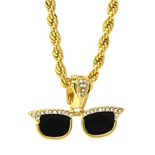 14k Gold Plated Hip-Hop Iced Out Cz Sun Glasses Pendant 30
