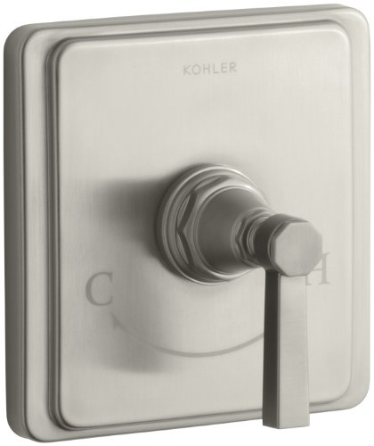 KOHLER K-T13173-4A-BN Pinstripe Pure Thermostatic Valve Trim, Vibrant Brushed Nickel - Bn Pinstripe Handles
