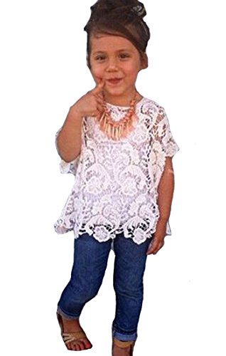 Baby Girls Clothing Set Lace Top White T-Shirt Denim Jeans 3 Pcs/Suit 6-7T White