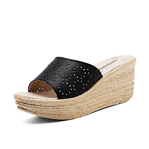 (T-JULY Women Mules Clog Shoes Leather Slip On Peep Toe Ladies Cork Wedge Sandals Female Platform Sandals Shoes Flats Summer Black)