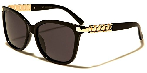 Womens Square Cateye Gold Watch Band Chain Sunglasses (Black, Black Polarized)
