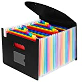 Expanding File Folder- OffiConsent 24 Pocket Plastic Rainbow File Organizer A4 Letter Size Portable Document Holder Wallet Accordion Briefcase Business Filing Box with Lid and Business Card Holder