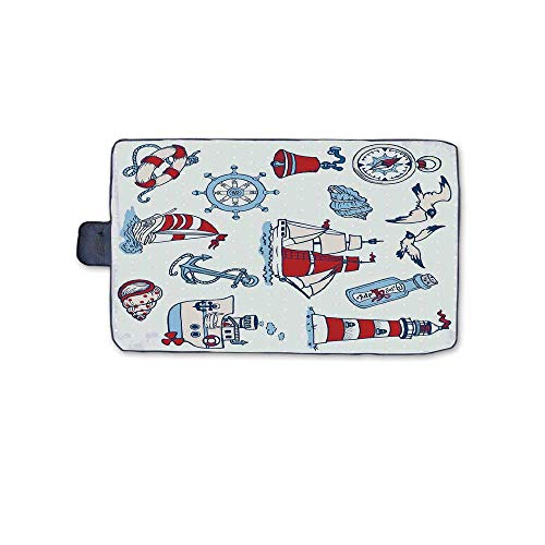 (TecBillion Nautical Stylish Picnic Blanket,Symbolic Sea Creatures Navigation Gulls Compass Kids Holiday Shell Water Rope Design Mat for Picnics Beaches Camping,58