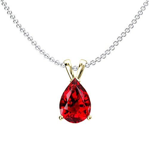 Dazzlingrock Collection 14K 8x6 mm Pear Cut Garnet Ladies Solitaire Pendant (Silver Chain Included), Yellow Gold