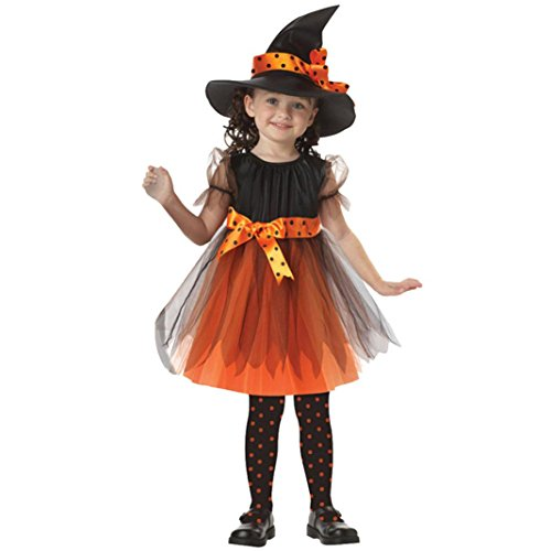 Girls Witchy Witch Costumes (Kids Girls Witch Costume, XILALU Halloween Clothes Performance Party Dresses+Hat Outfits (3-4Y, Orange))