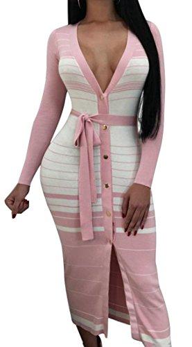 Abito Lunga A Pulsante Del Stripe Rosa V Cromoncent Scollo Sexy Club Manica Womens YxF8nqOT
