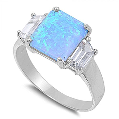 Square Blue Simulated Opal White CZ Accent Ring .925 Sterling Silver Band Size 7