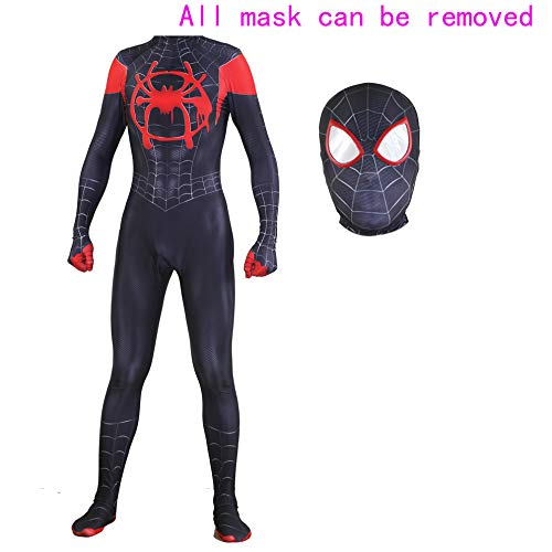 MYanimec Unisex Lycra Spandex Halloween New into The Spider Verse Miles Morales Cosplay Costumes Adult/Kids 3D Style (Kids-M) Black