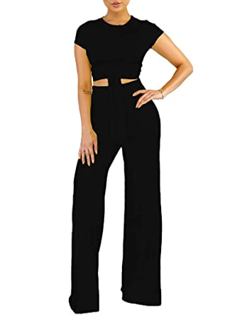 162883e171f392 Two Piece Outfits for Women Solid Short Sleeve Crop Tops Long Pants Sets  Jumpsuits Black