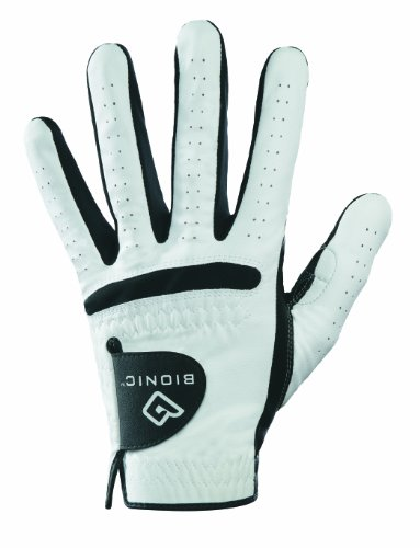 (Bionic Men's RelaxGrip Left Hand Golf Glove, White/Black, Medium/Large)