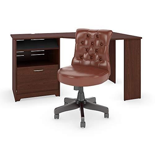 Bush Furniture CAB062HVC Cabot Corner Desk with Mid Back Tufted Office Chair 60W Harvest ()