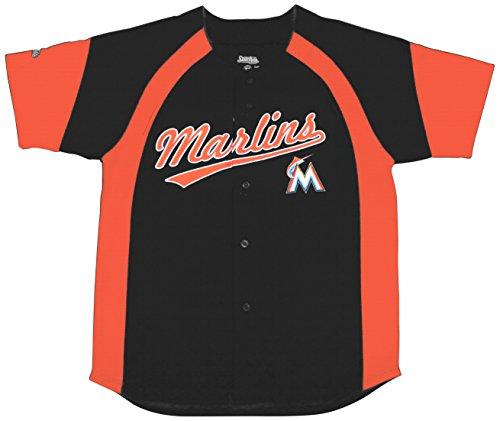MLB Miami Marlins Youth Fashion Script Jersey, Black, X-Large