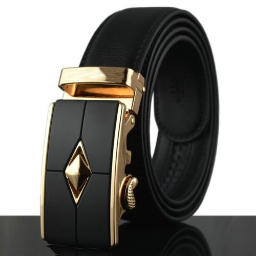 Genuine Leather Men's Automatic Buckle Belts Fashion Waist Strap Belt Waistband, Condition: 100% Brand New and High Quality