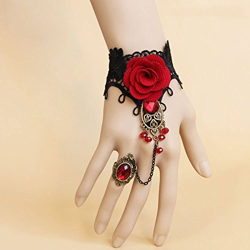 Five Season 1pcs Handmade Retro Black Lace Vampire Slave Bracelet With Fabric Flower And Red Resin Gothic Style
