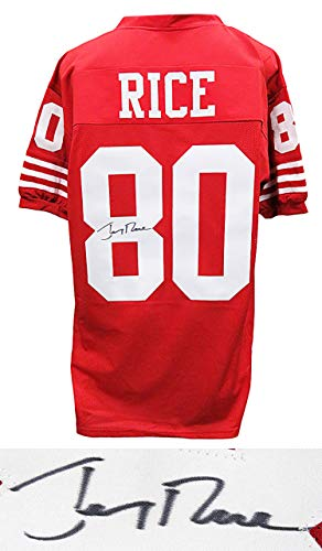 san Francisco 49ers Jerry Rice Signed Red Throwback Custom Football Jersey - Schwartz Authentic