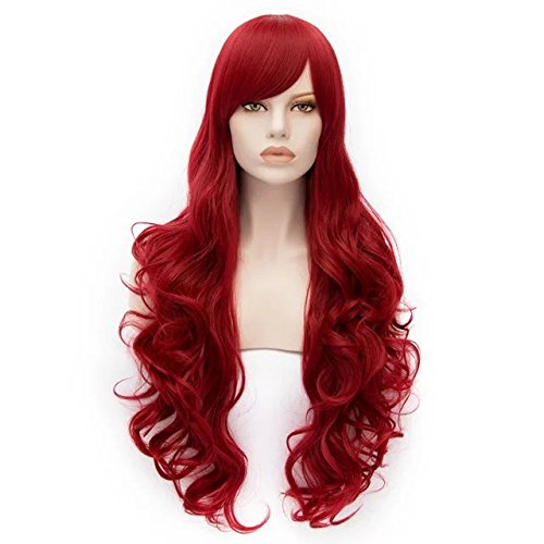 Fashion Red 31 Inches Long Curly Anime Cosplay Girls Wig+Cap]()