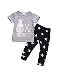 Infant Boys Girls Letters & Pattern Short Sleeve T-shirt+Star Pants Outfits Suit