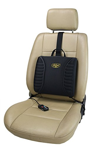 ObboMed SU-3400 12V 13W Heated Massage Travel Pro-Lumbar Seat Cushion, Support Low Back/Waist for Long Drive / Sitting, Portable, Lightweight with Weight Balancer (Auto Off Setting) -