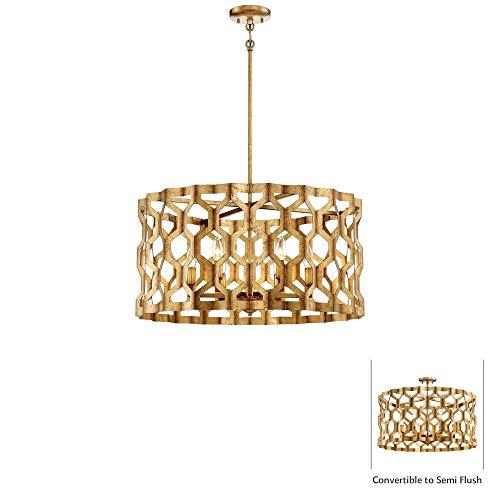 (Metropolitan N6776-293 Coronade Pendant, 6-Light 360 Total Watts, Pandora Gold Leaf)