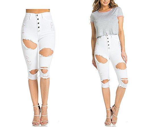 Pantalones Breasted Pantalones de blanco solo Cortos alta Denim Sexy Jeans Señoras Frayed Butt Lápiz cintura elevación Adelgazamiento xXEvW