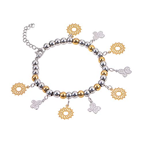 - HOUSWEETY Stainless Steel Silver Gold Beaded Cutout Butterflies Pendant Flowers Charms Lobster Clasp Chain Bracelet