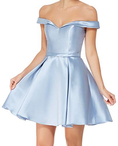 Festlich Blau Cocktailkleider Brautjungfernkleider Charmant Tanzenkleider Satin Abendkleider Mini Damen Himmel Partykleider Kurzes 5qPXS