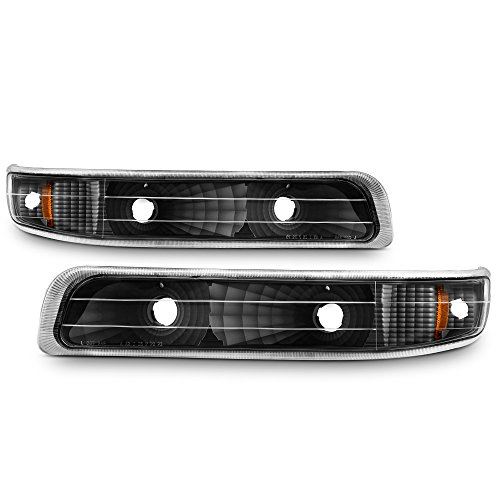 (For 1999-2002 Silverado 00-06 Tahoe Suburban Black Bumper Parking Turn Signal Lights Left + Right Pair)