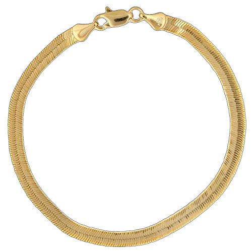 14K Italy Gold Plated 5mm Herringbone Anklet Chain 10.5