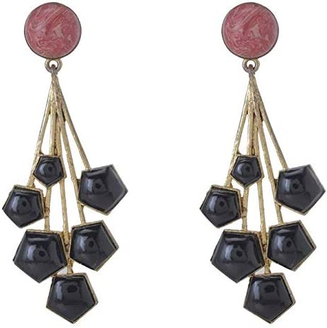 Taashya Black Stones Red Beads Ear Piece